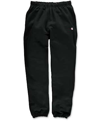 Champion Reverse Weave Banded Bottom Black Sweatpants