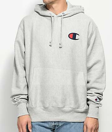 Champion Reverse Weave Big C Heather Grey Hoodie