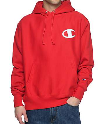 Champion Reverse Weave Big C Red Hoodie