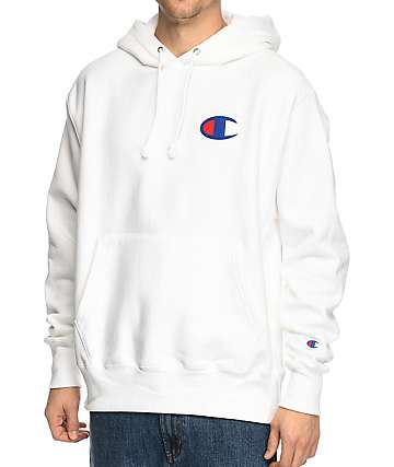 Champion Reverse Weave Big C White Hoodie