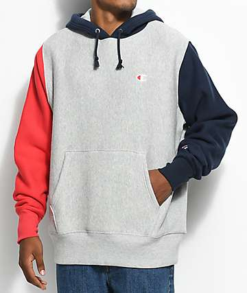 Champion Reverse Weave Colorblock Grey, Red & Navy Hoodie