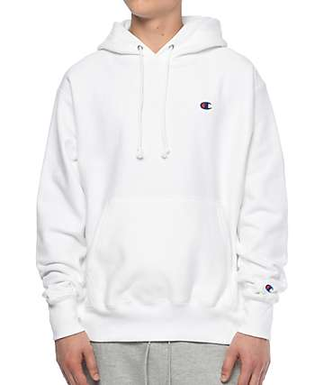 Champion Reverse Weave Left Chest C White Hoodie