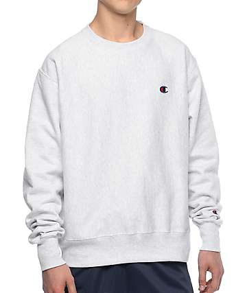 Champion Reverse Weave Silver Crew Neck Sweatshirt