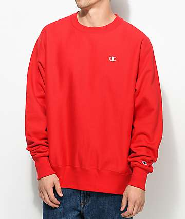 Champion Reverse Weave Team Red Crew Neck Sweatshirt