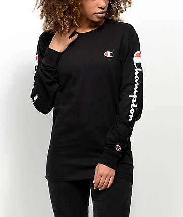 Champion Script Black Long Sleeve T-Shirt