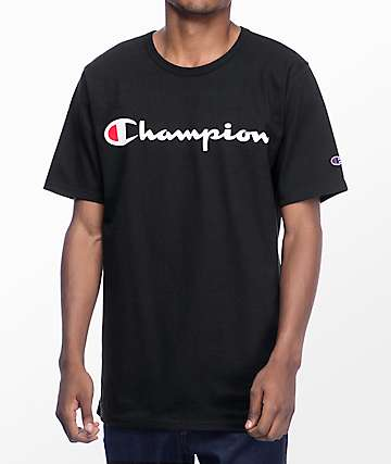 Champion Script Black T-Shirt