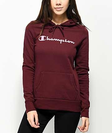 Champion Script Logo Burgundy Hoodie