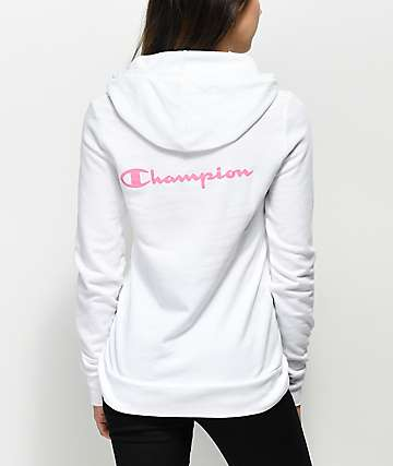Champion Script Logo White Hoodie