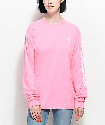 Champion Script Pink Long Sleeve T-Shirt