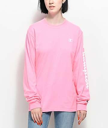 Champion Script camiseta rosa de manga larga