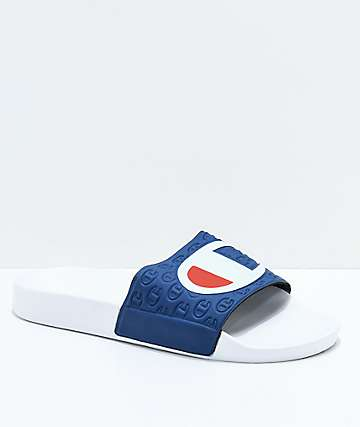 Champion White & Navy Slide Sandals