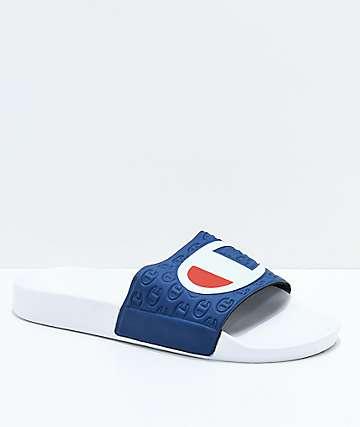 Champion White & Navy Slide Sandals