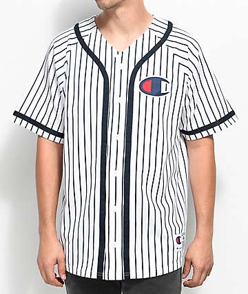 Champion White Striped Baseball Jersey