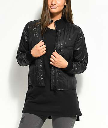 Cheap Monday Recycled Black Quilted Bomber Jacket