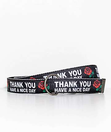 Chinatown Market Thank You Rose Black Web Belt