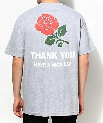 Chinatown Market Thank You Rose camiseta gris