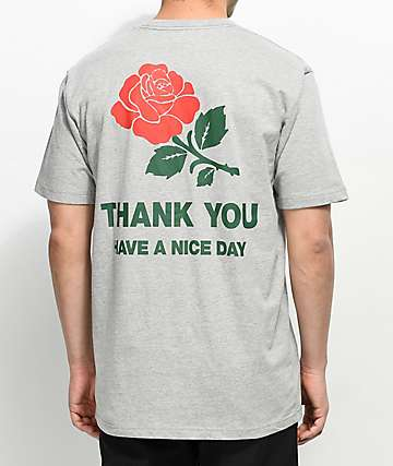 Chinatown Market Thank You Rose camiseta gris