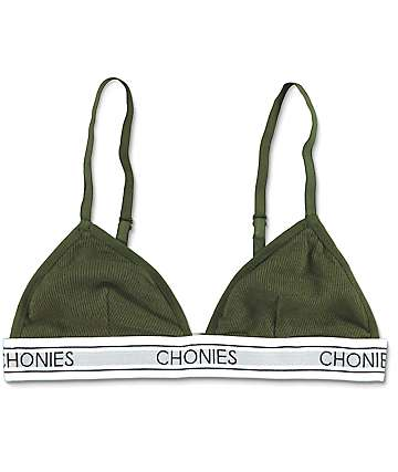 Chonies Olive Ribbed Triangle Bralette