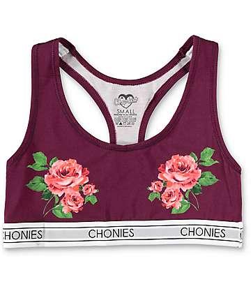 Chonies Roses sujetador deportivo en color vino