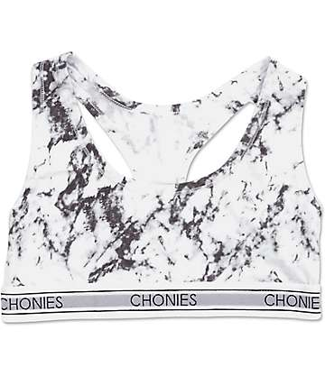 Chonies White Marble Sports Bra