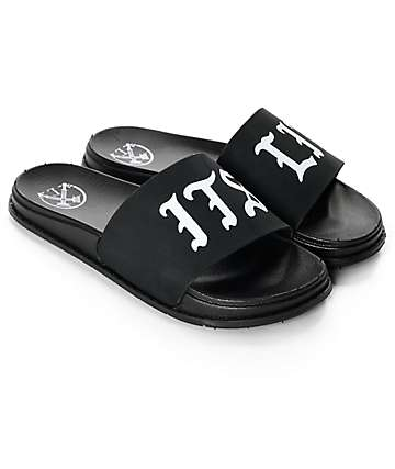 Civil It's Lit Black Slide Sandals