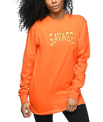 Civil Savage Orange Long Sleeve T-Shirt
