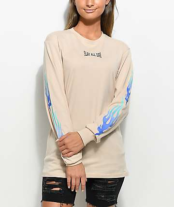 Civil Slay All Day Long Sleeve Khaki T-Shirt