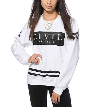 Civil White Fleece Crew Neck Sweatshirt
