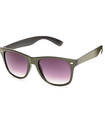 Classic Flat Line Army Green Sunglasses