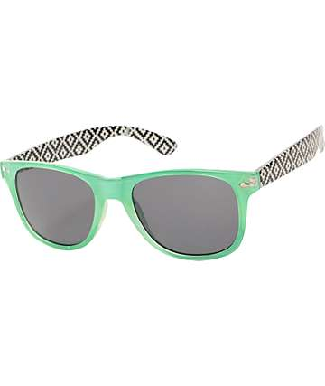 Classic Hudson Mint, Black, & White Aztec Sunglasses