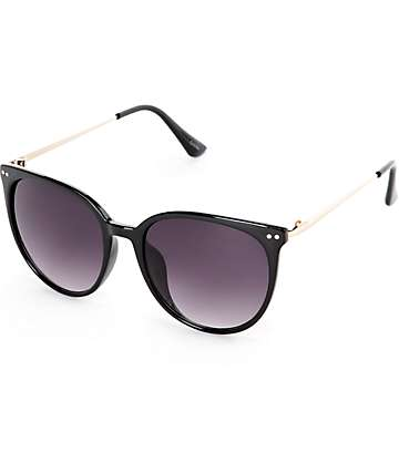 Classic Oversized Black & Gold Arm Sunglasses