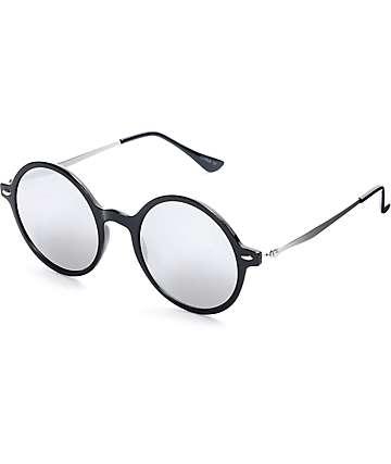 Classic Round Flat Lens Black & Sliver Sunglasses