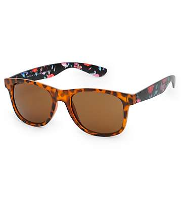 Classic Tortoise Shell Floral Arm Sunglasses