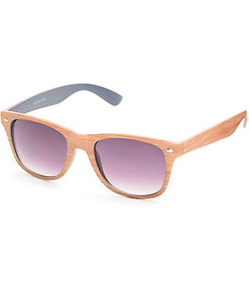 Classic Wood Grain & Blue Sunglasses