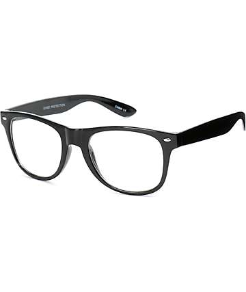 Clear Lens Black Wayfarer Glasses