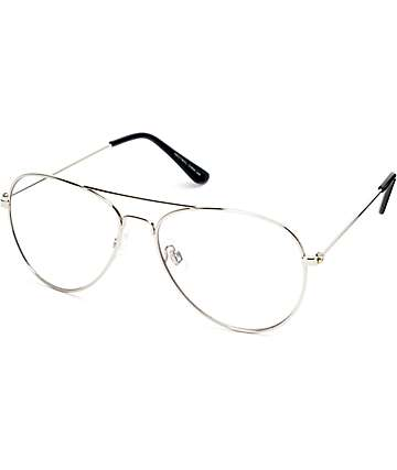 Clear Lens Silver Aviator Glasses