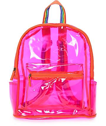 Clear Pink Rainbow Backpack