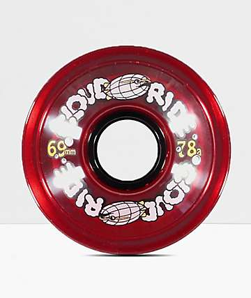 Cloud Ride Clear Red 69mm 78a Longboard Wheels