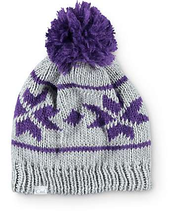 Coal Britta Grey & Purple Pom Beanie