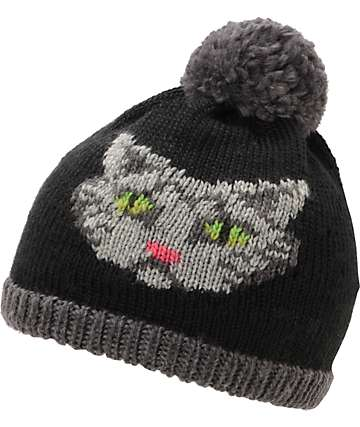 Coal Kitty Black Pom Beanie