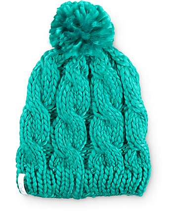 Coal Rosa Jewel Green Pom Beanie