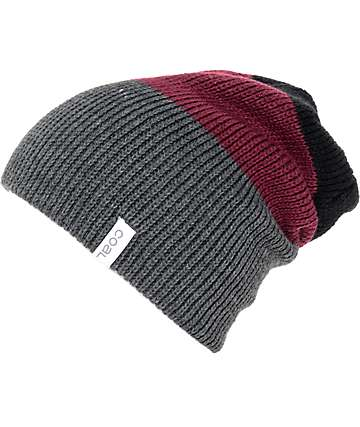 Coal The Frena Black, Burgundy & Charcoal Beanie