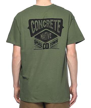Concrete Native Small Town Company Green T-Shirt