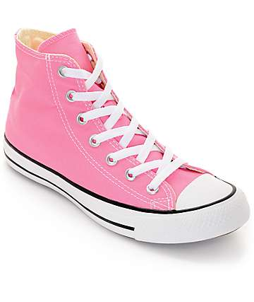 Convers Womens Chuck Taylor All Star Pink High Top Shoes