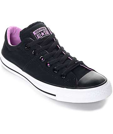 Converse  Chuck Taylor All Star Madison Black, White & fuchsia Shoes (Womens)
