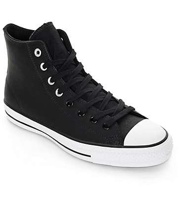 Converse CTAS Pro Hi Black Leather Shoes