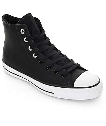 Converse CTAS Pro Hi Black Leather Skate Shoes