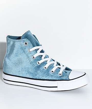Converse Chuck Taylor All Star Hi Teal Velvet Shoes