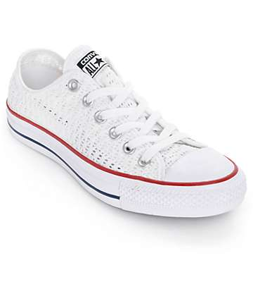 Converse Chuck Taylor All Star Low White Crochet Shoes