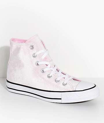 Converse Chuck Taylor Hi Arctic Pink Velvet Shoes